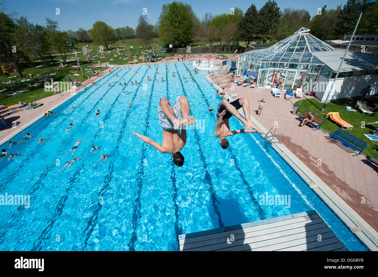 Pool Stuttgart Boys Diving Into A Public Swimming Pool Moehringer