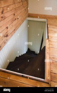Trap door for wooden staircase leading to the downstairs ...