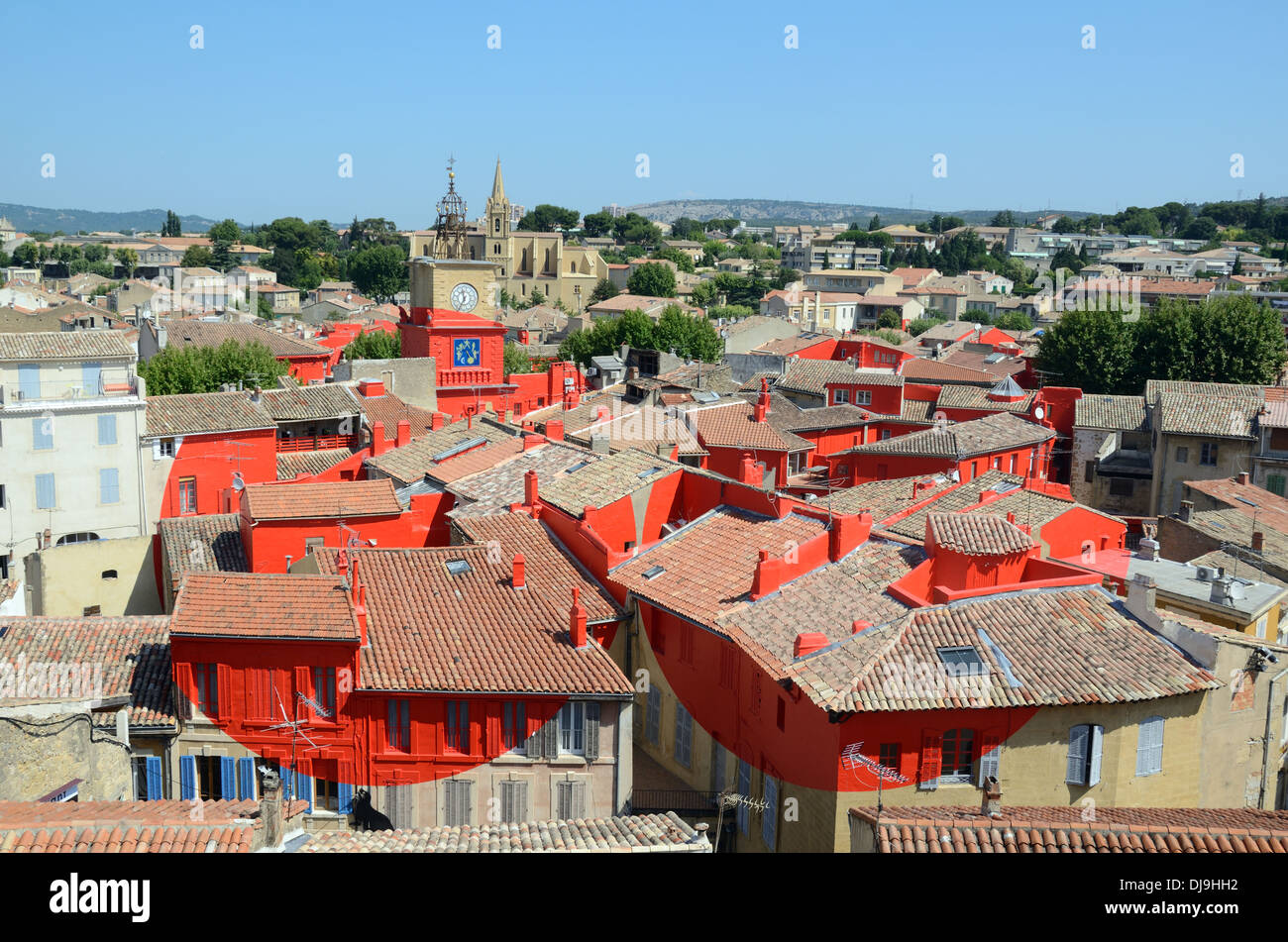 Salon Provencal View Over Salon De Provence Painted Red Art Installation