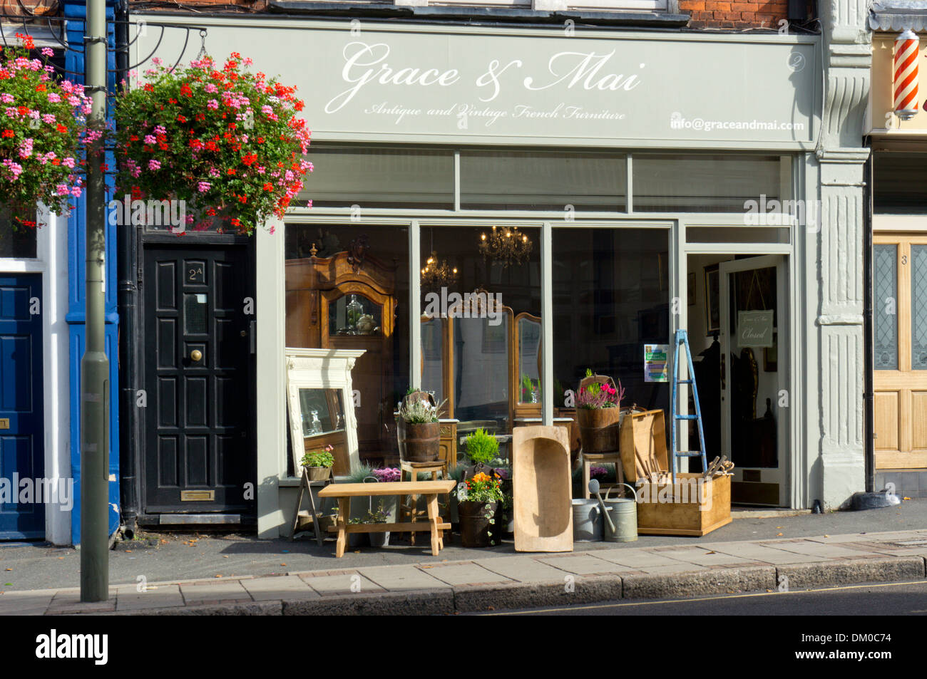Furniture On The Pavement Outside The Shop Of Grace Mai Antique And Vintage French Furniture In Sundridge Park Kent Stock Photo Alamy