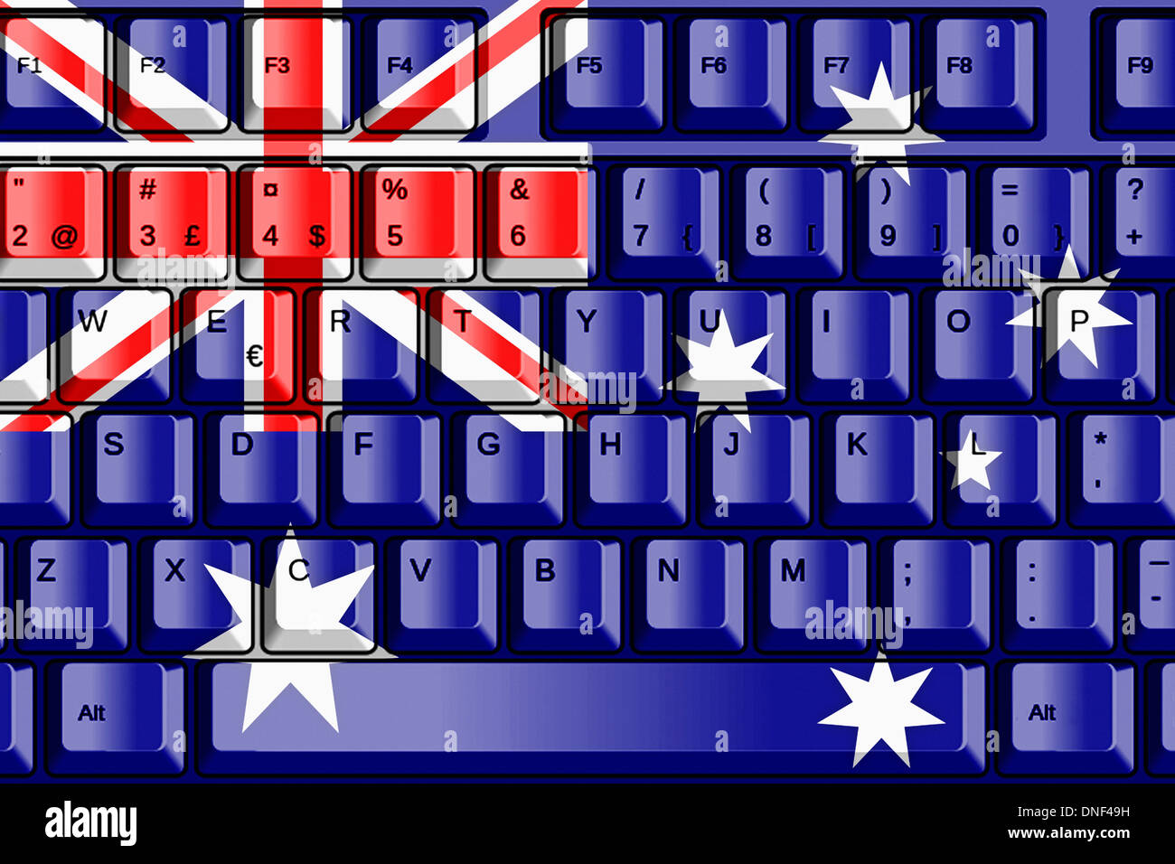 Australia Computer Computer Keyboard With Australia Flag Concept Stock Photo