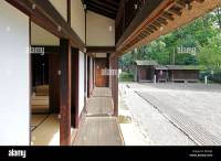Veranda of old Japanese house and front garden Tokyo Japan ...