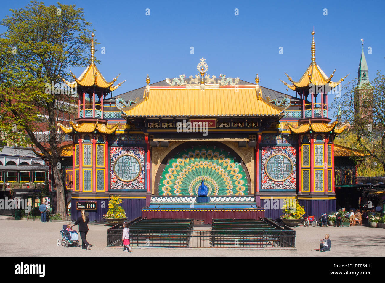 Chinese-style Pantomime Theatre in Tivoli Gardens, Copenhagen Stock Photo - Alamy