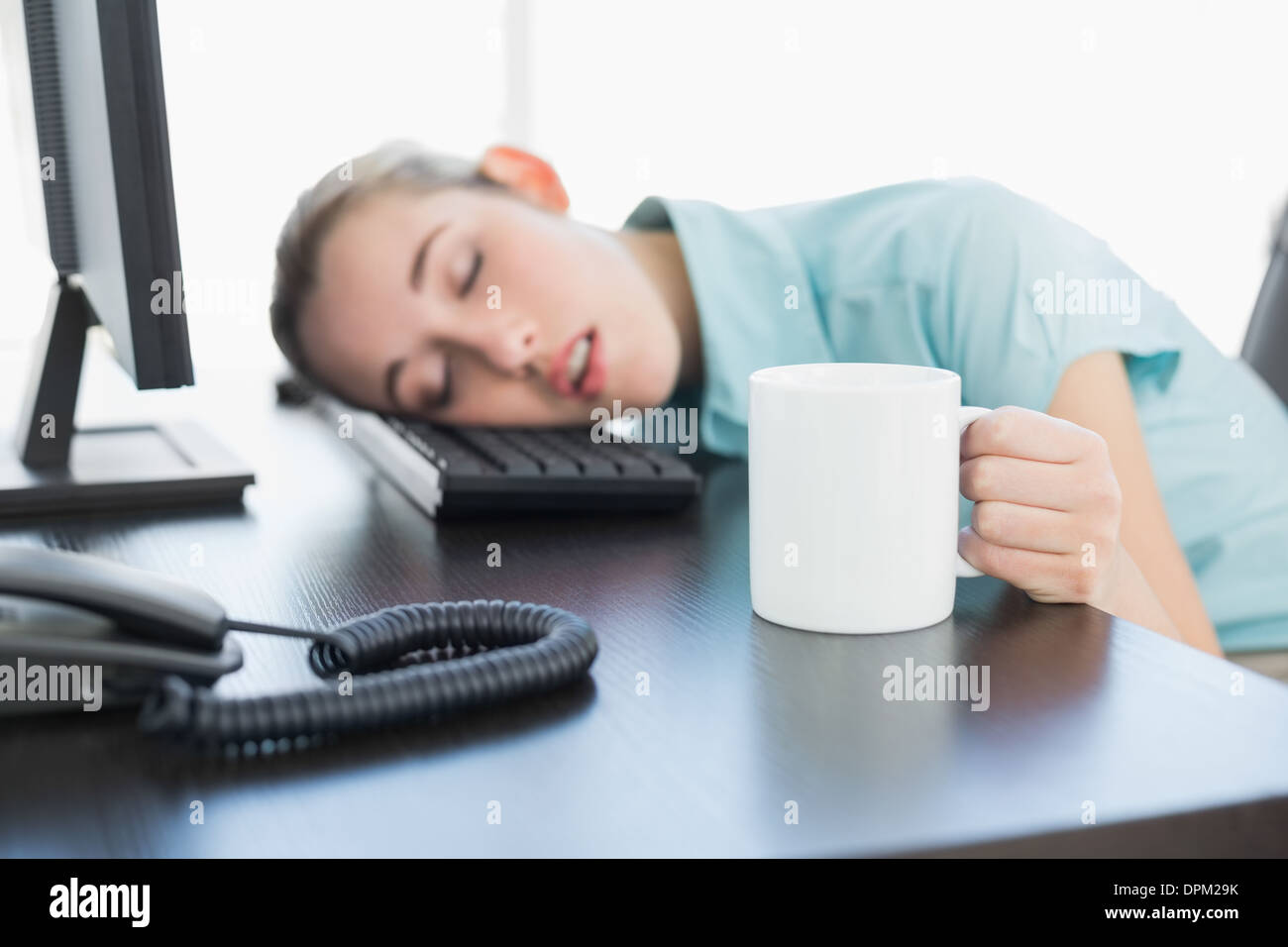 Cute Swivel Chair Cute Businesswoman Sitting On Her Swivel Chair Napping Stock Photo