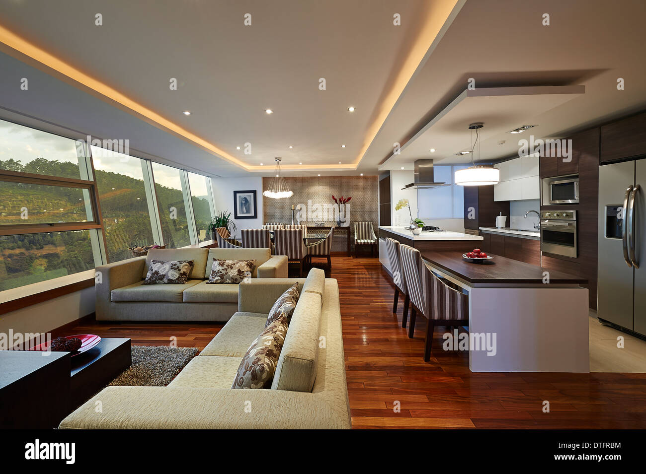 Modern Living Room With Kitchen Interior Design Interior Design Big Modern Living Room And Kitchen Stock Photo