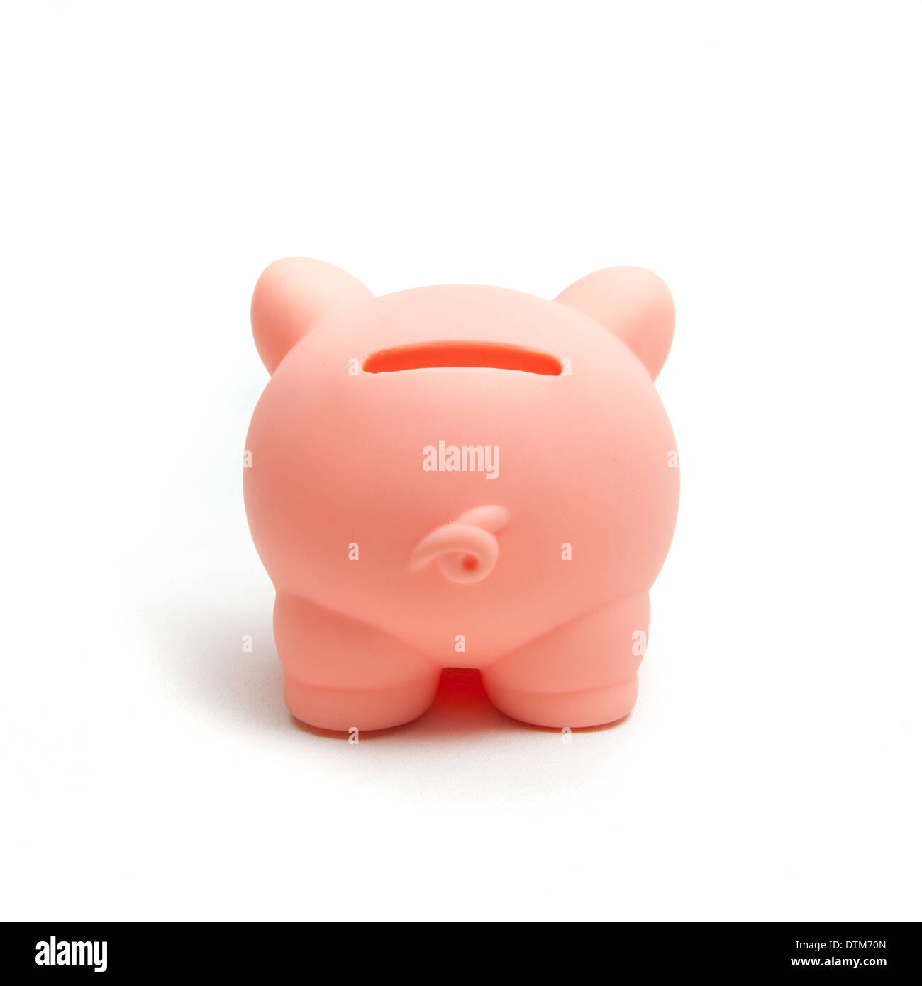 Pink Plastic Piggy Banks Pink Plastic Backside Piggy Bank On White Background Stock