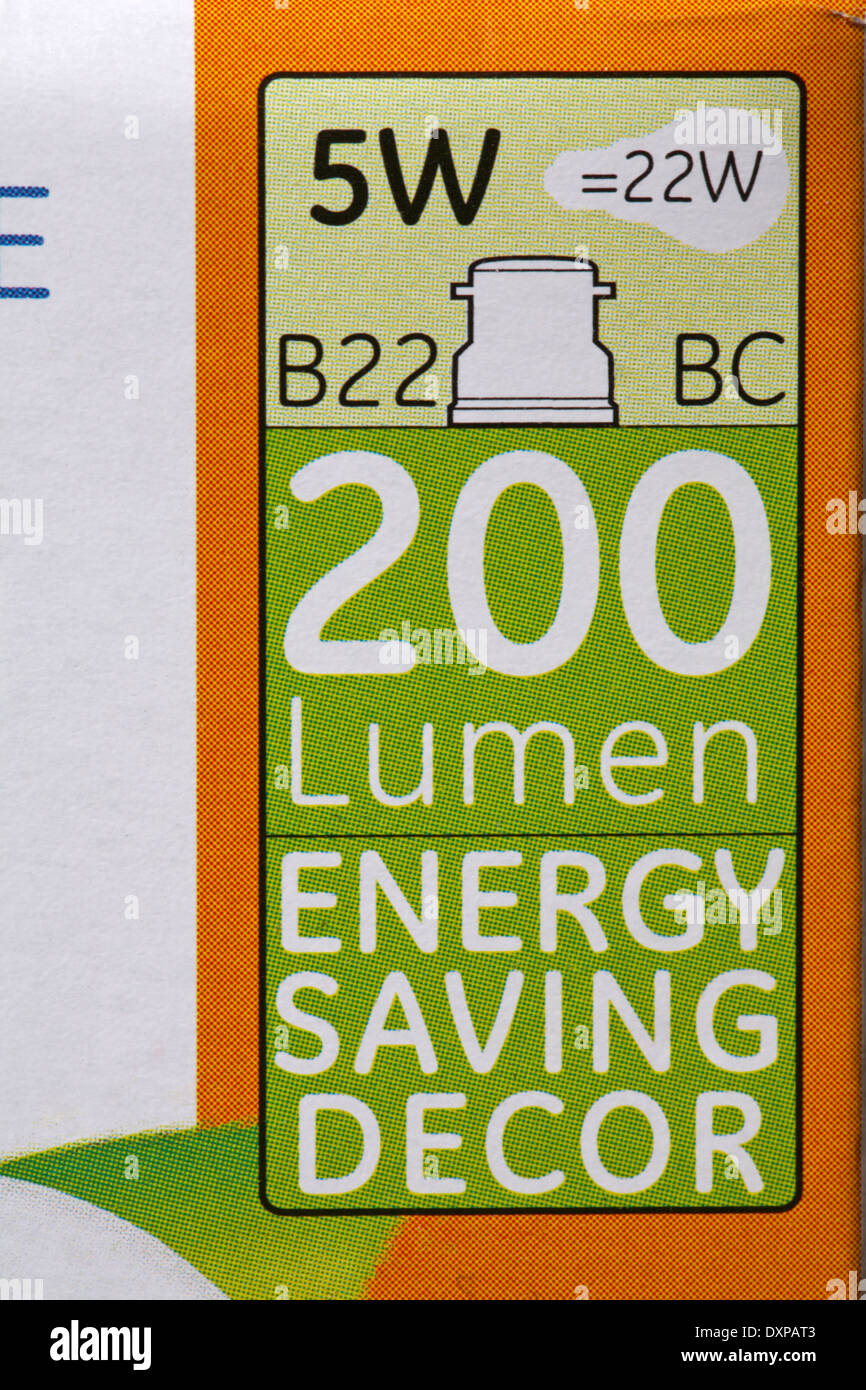 200 Lumen 200 Lumen Energy Saving Decor Information On Box Of Energy
