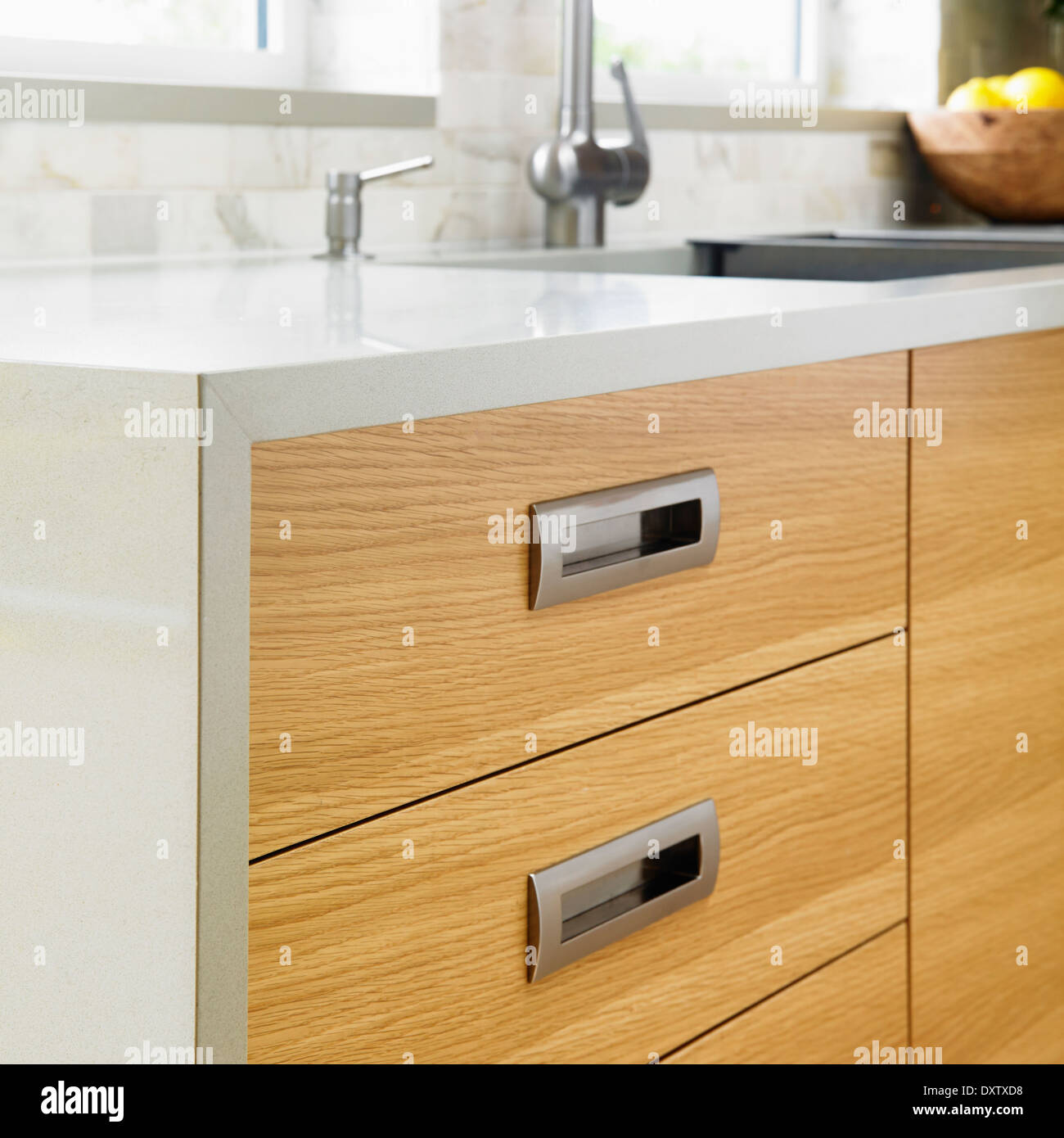 Detail Of Edge Grain Oak Cabinets With Modern Stainless Steel Pulls Stock Photo Alamy