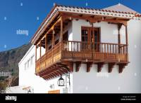 House with traditional wooden balcony, Tejeda, Gran ...