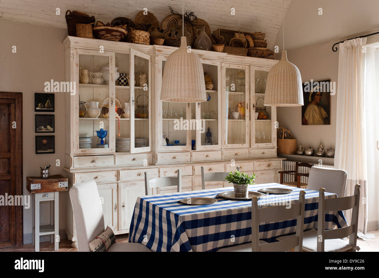 French style kitchen furniture -  Kitchen With French Style Cabinets Checked Blue Tablecloth And Download