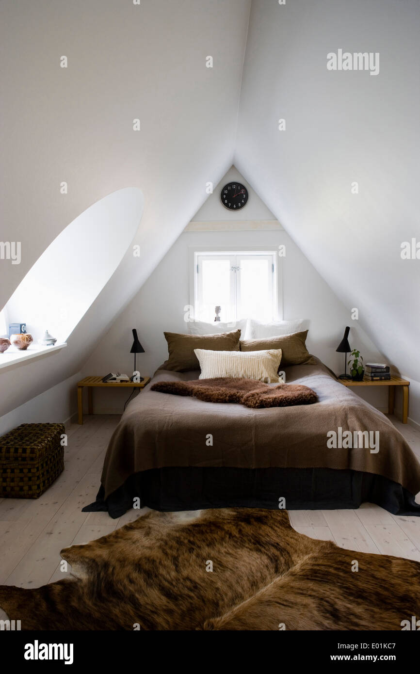 Attic Bedroom Conversion In Modernised Farm House Kirke Vaerlose Stock Photo Alamy