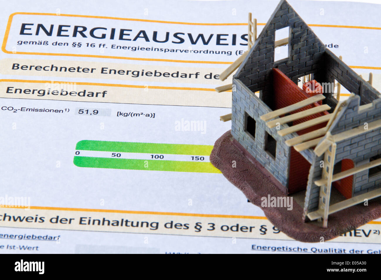 Shell House With Energiepass Energy Identity Card For Germany Stock Photo Alamy