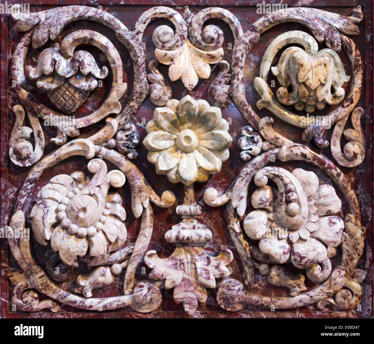 Motif Relief Marble Bas Relief With Floral Motif Background Stock Photo
