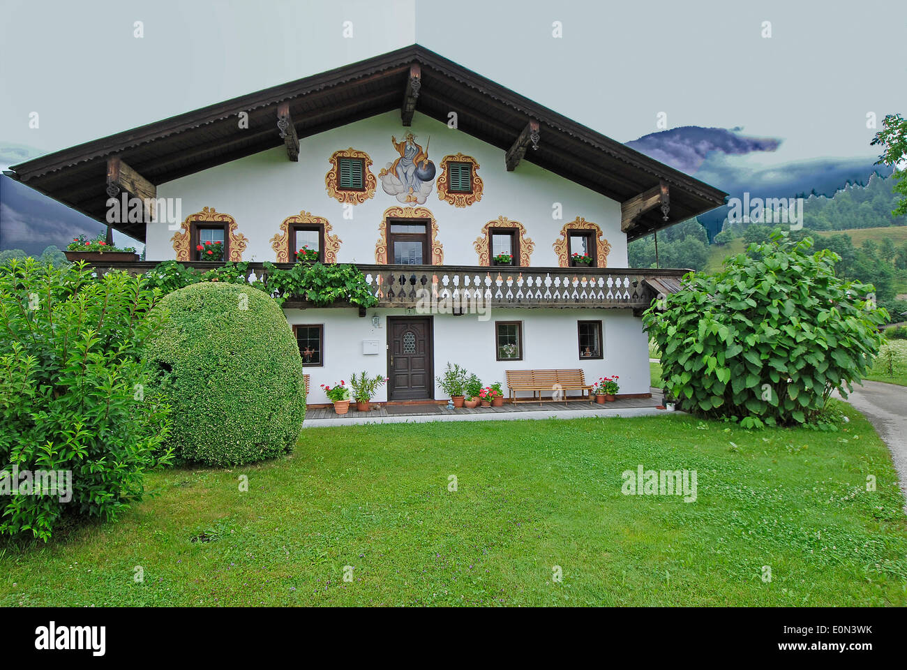 Cottage Haus Haus Dorf House Cottage Lüftelmalerei Lüfte Painting Stock Photo