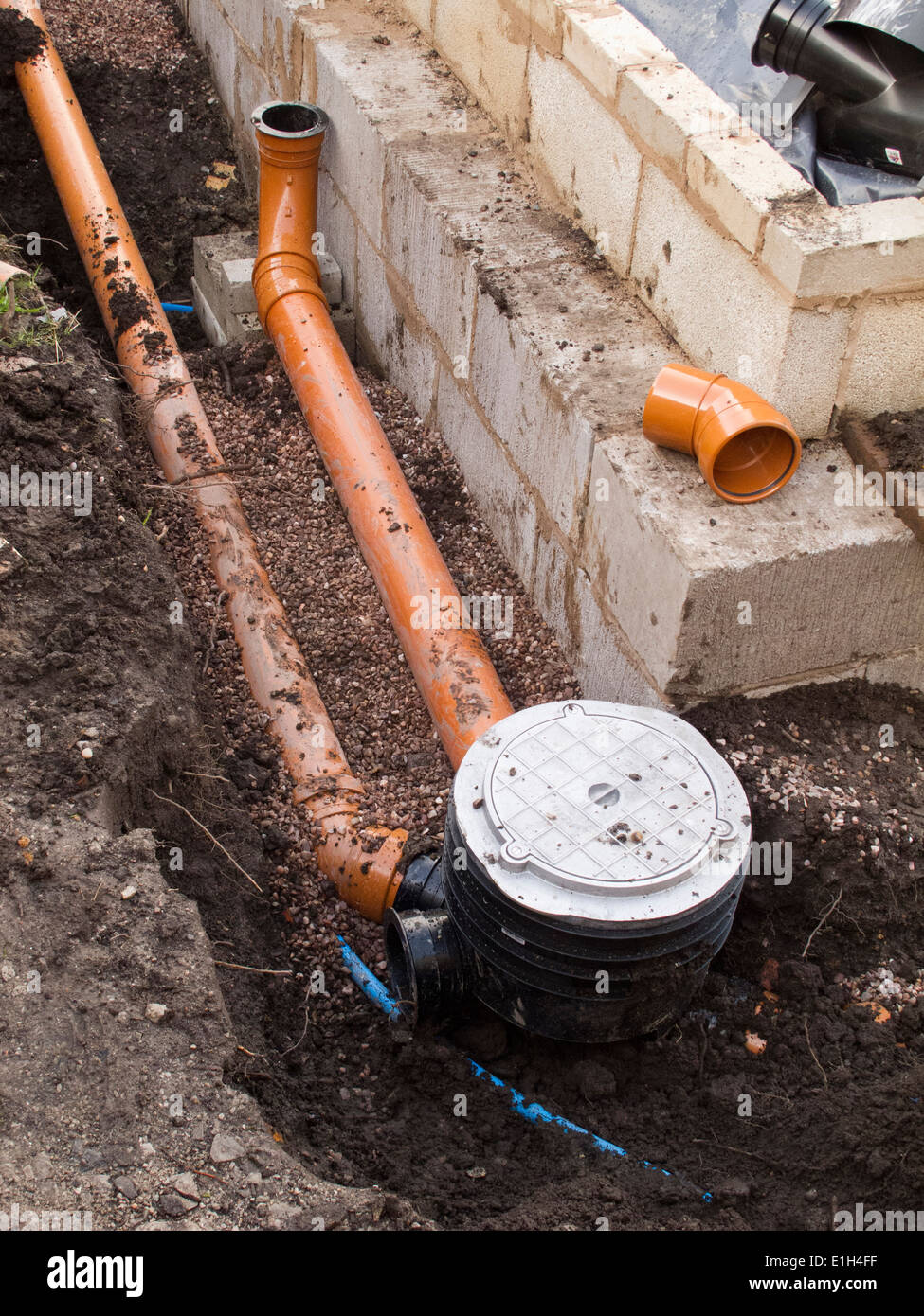 self building house, drainage, drain pipe connection to