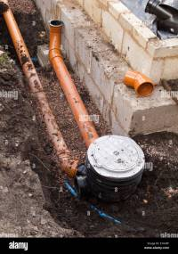 self building house, drainage, drain pipe connection to ...