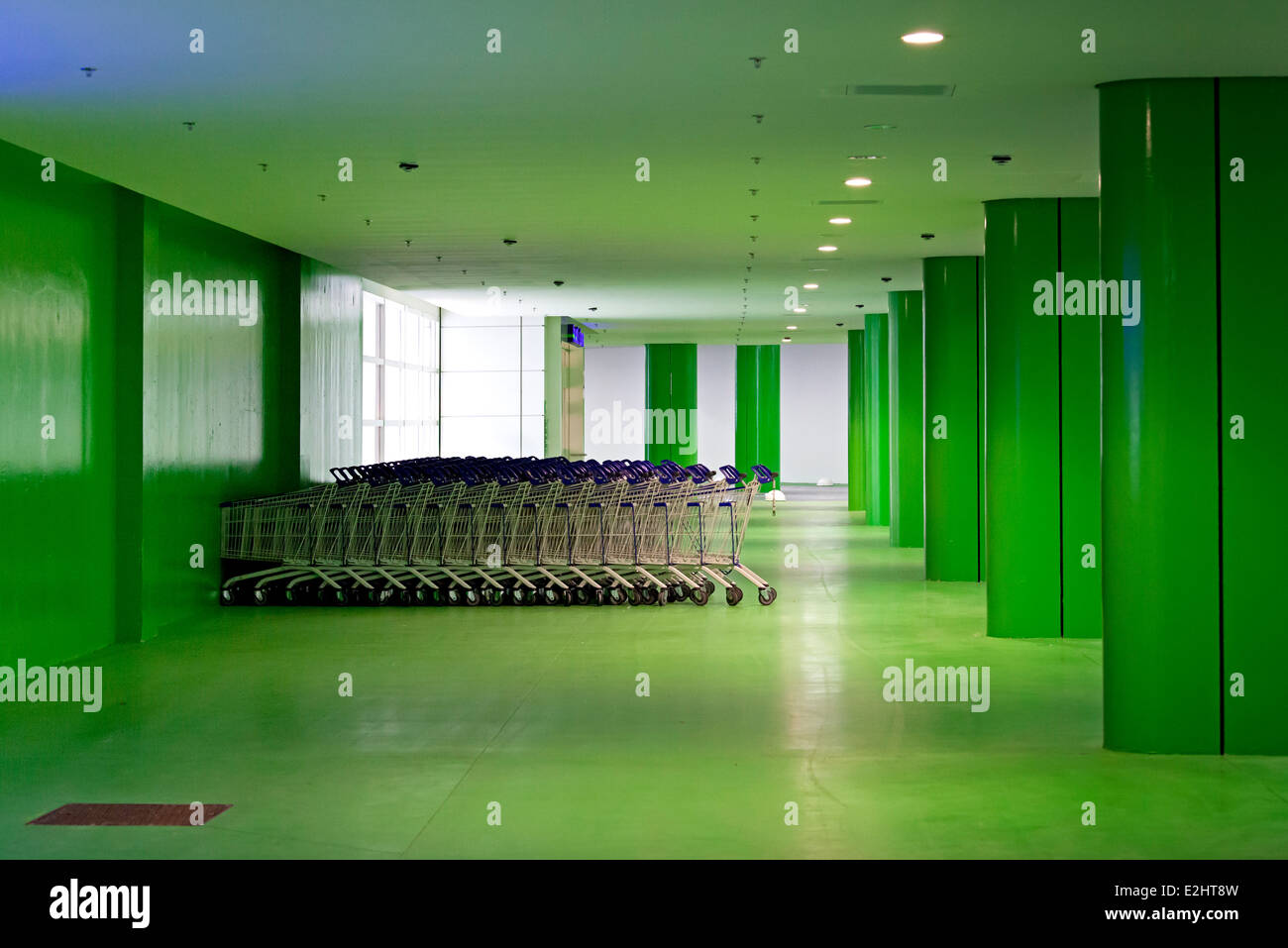 Garage Loire Atlantique Shopping Carts In Colorful Parking Garage Saint Herblain Stock