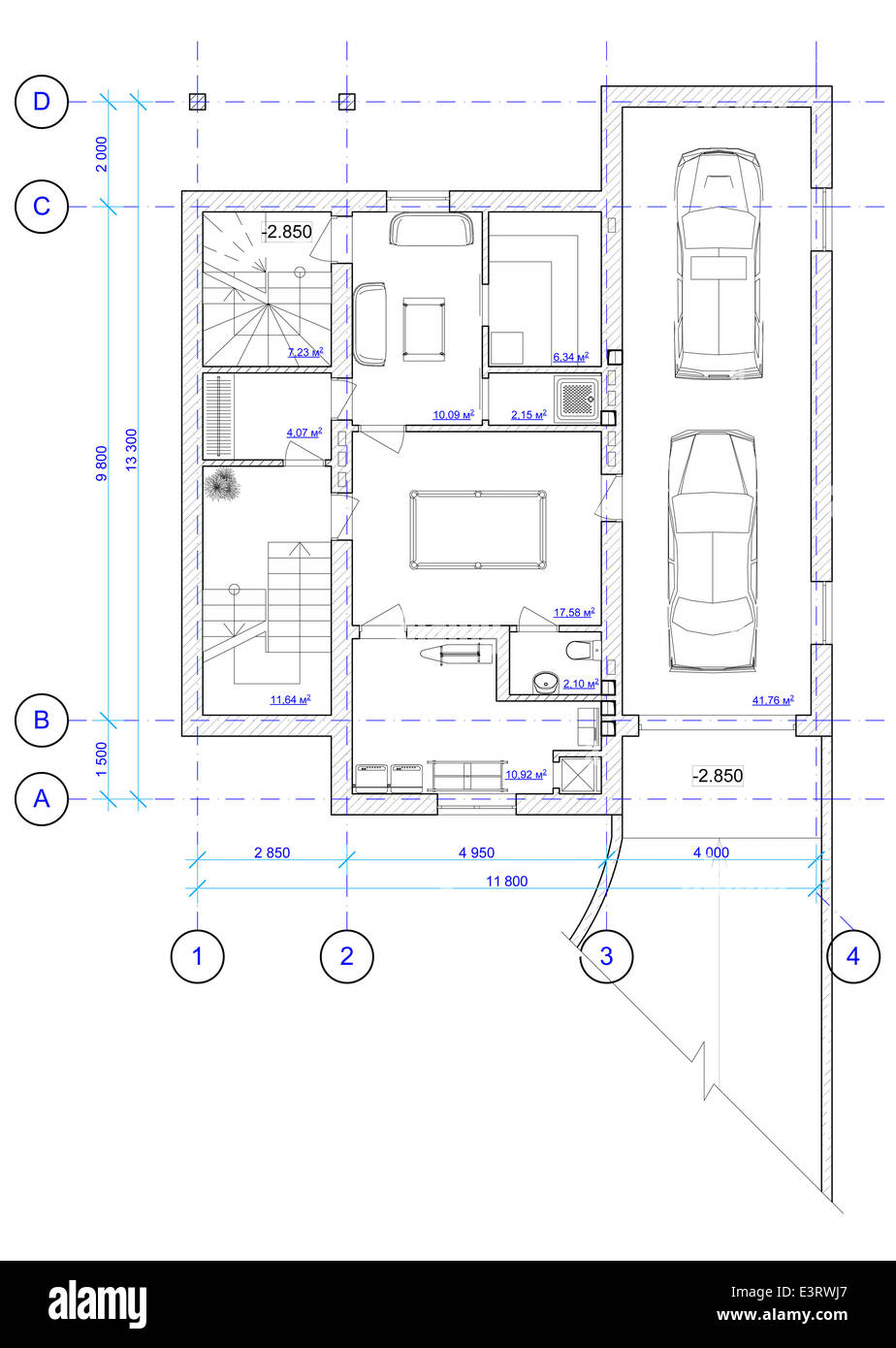 House Plan Drawing Floor Plan Cut Out Stock Images Pictures Alamy