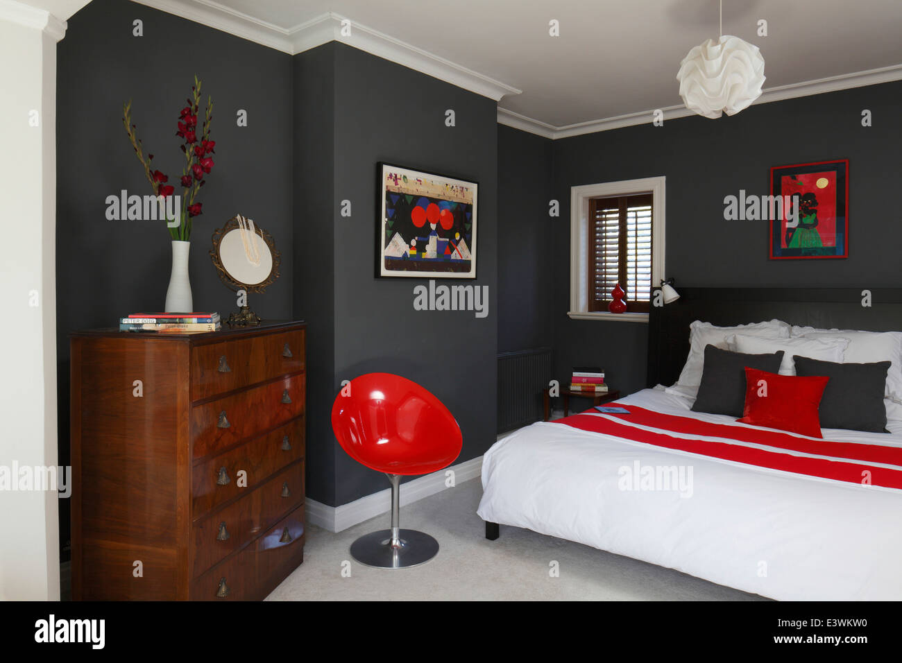 Red Black And Grey Bedrooms Red White And Grey Colour Scheme In Modern Bedroom