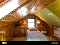 Wood Paneled Attic Bedroom with Slanted Ceiling, Single ...