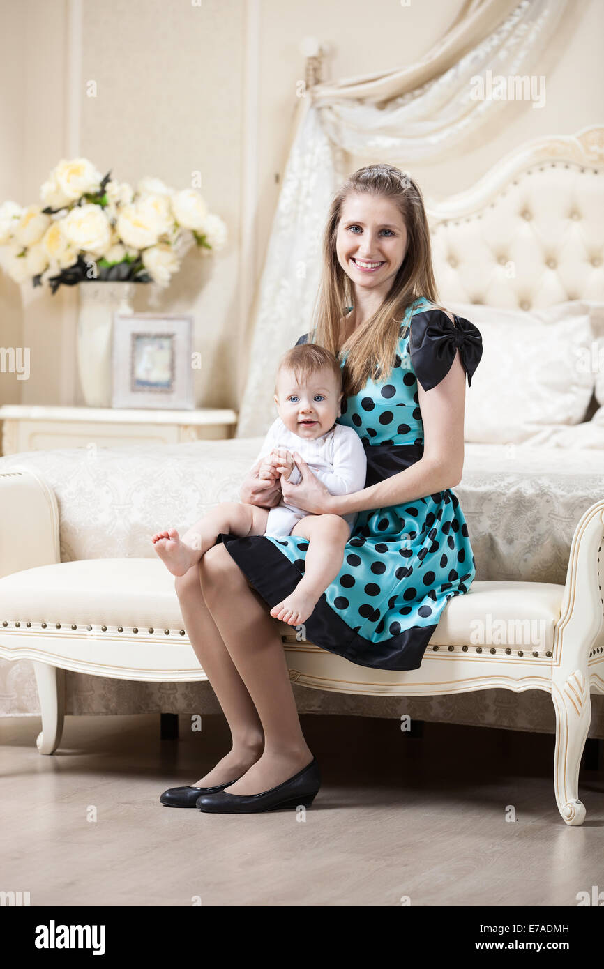 Little Couch For Bedroom Young Caucasian Woman Posing With Little Son While Sitting On