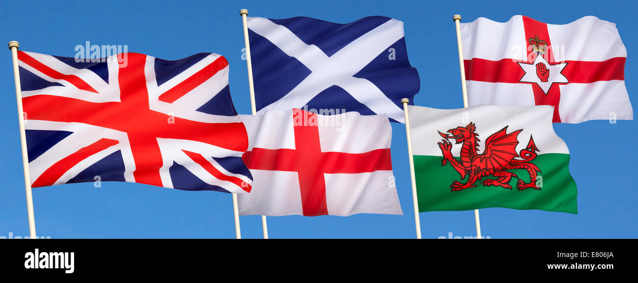 Flags of the United Kingdom of Great Britain - England, Scotland