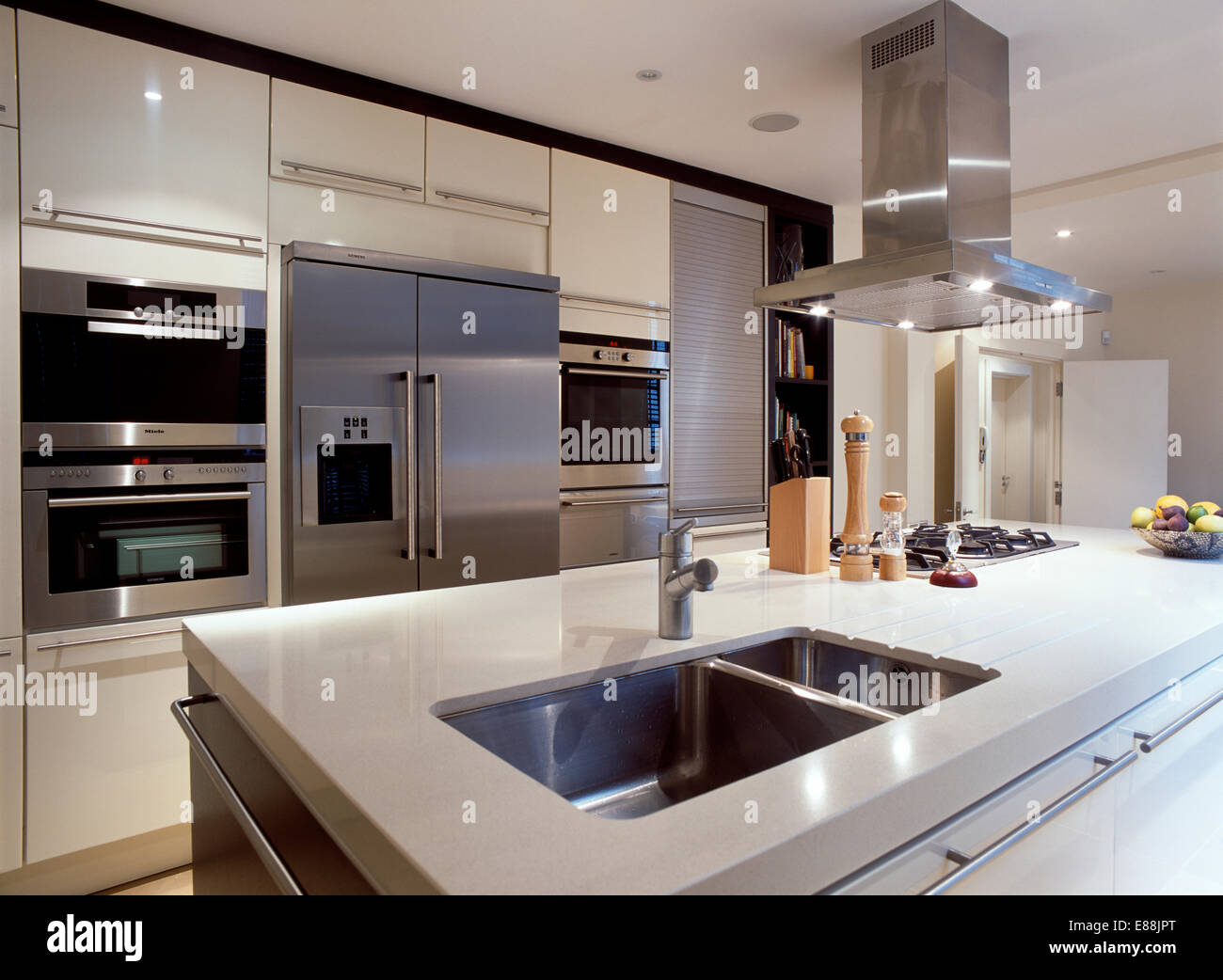 Modern Kitchen Fans Steel Extractor Fan Above Island Unit With Underset Double
