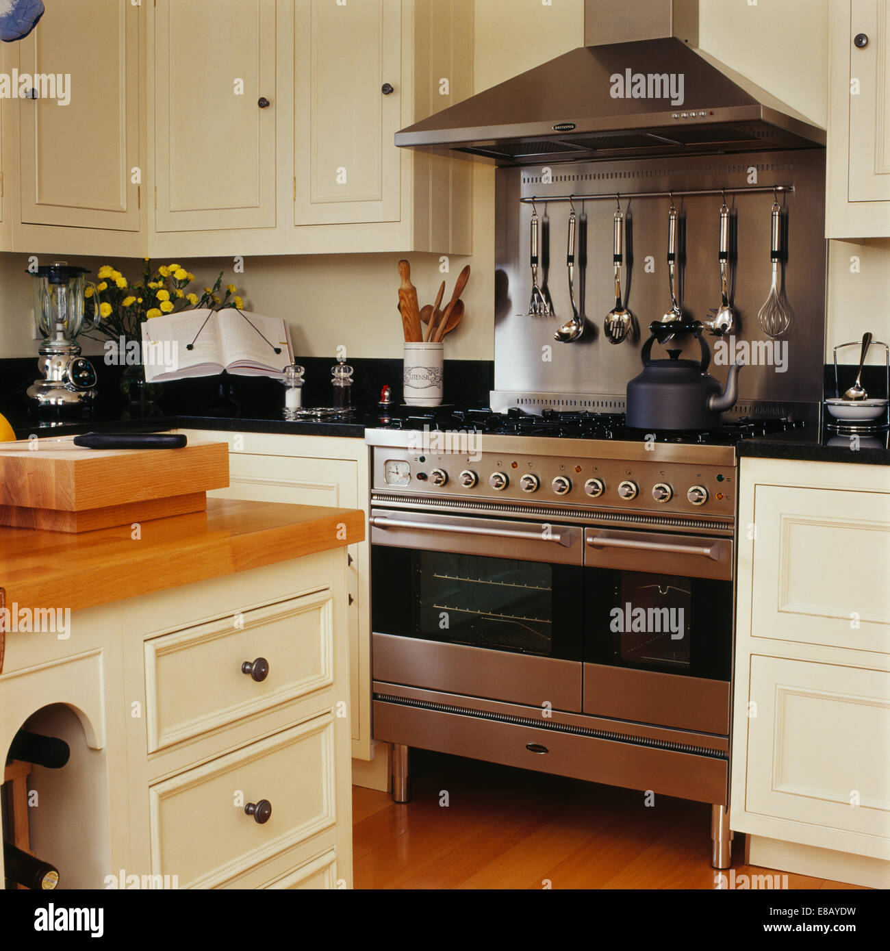 Stainless Steel Splashback Stainless Steel Range Oven And Splash Back In Country Kitchen With
