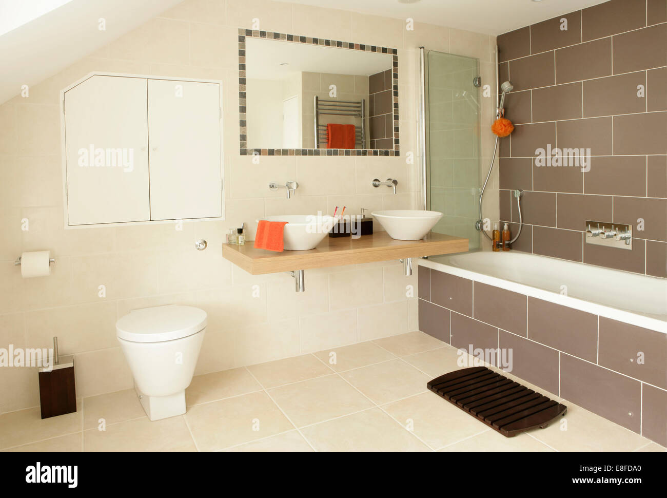 Tiled Framed Mirror Above White Bowl Basins On Wooden Vanity Shelf In Stock Photo Alamy