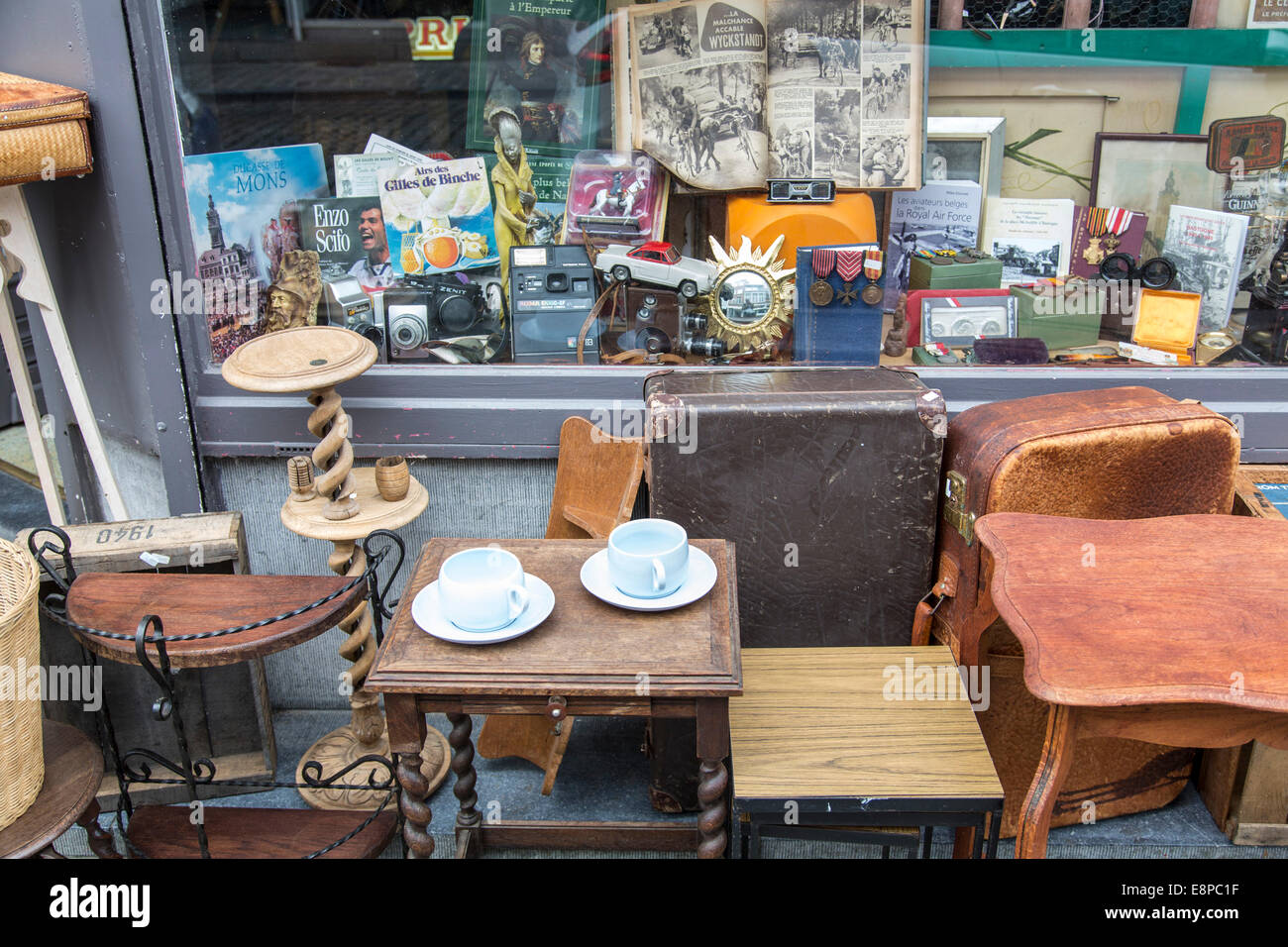 Antique Shop In The Old Town Of Mons Belgium Stock Photo Alamy