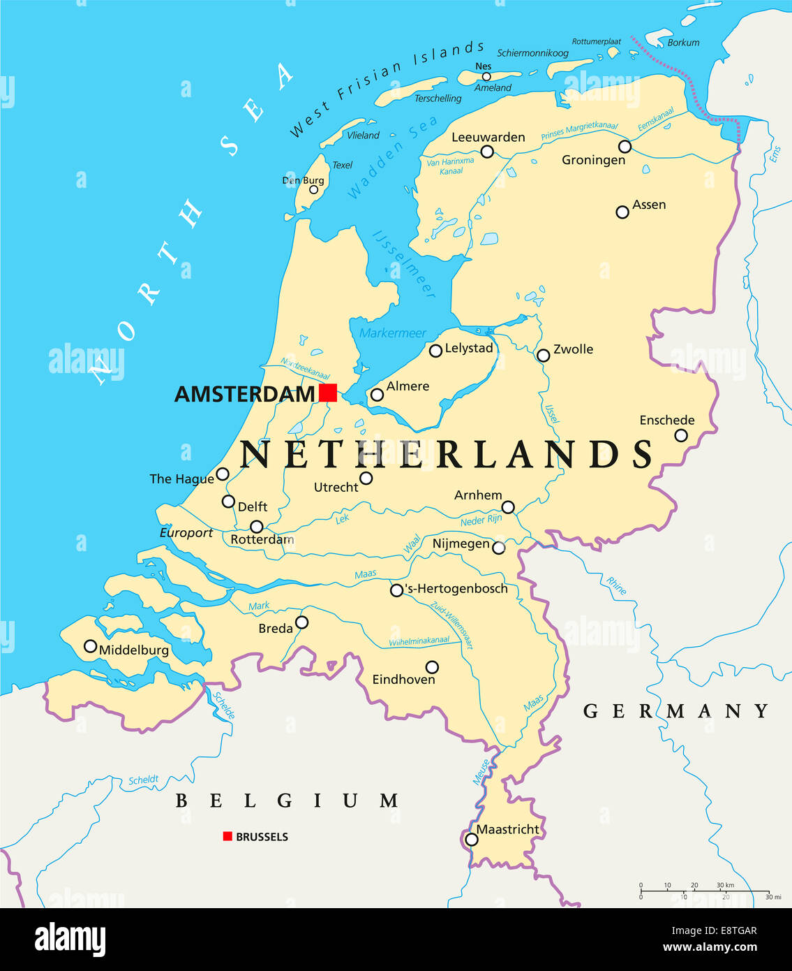 Rotterdam Mapa Netherlands Political Map With Capital Amsterdam, National