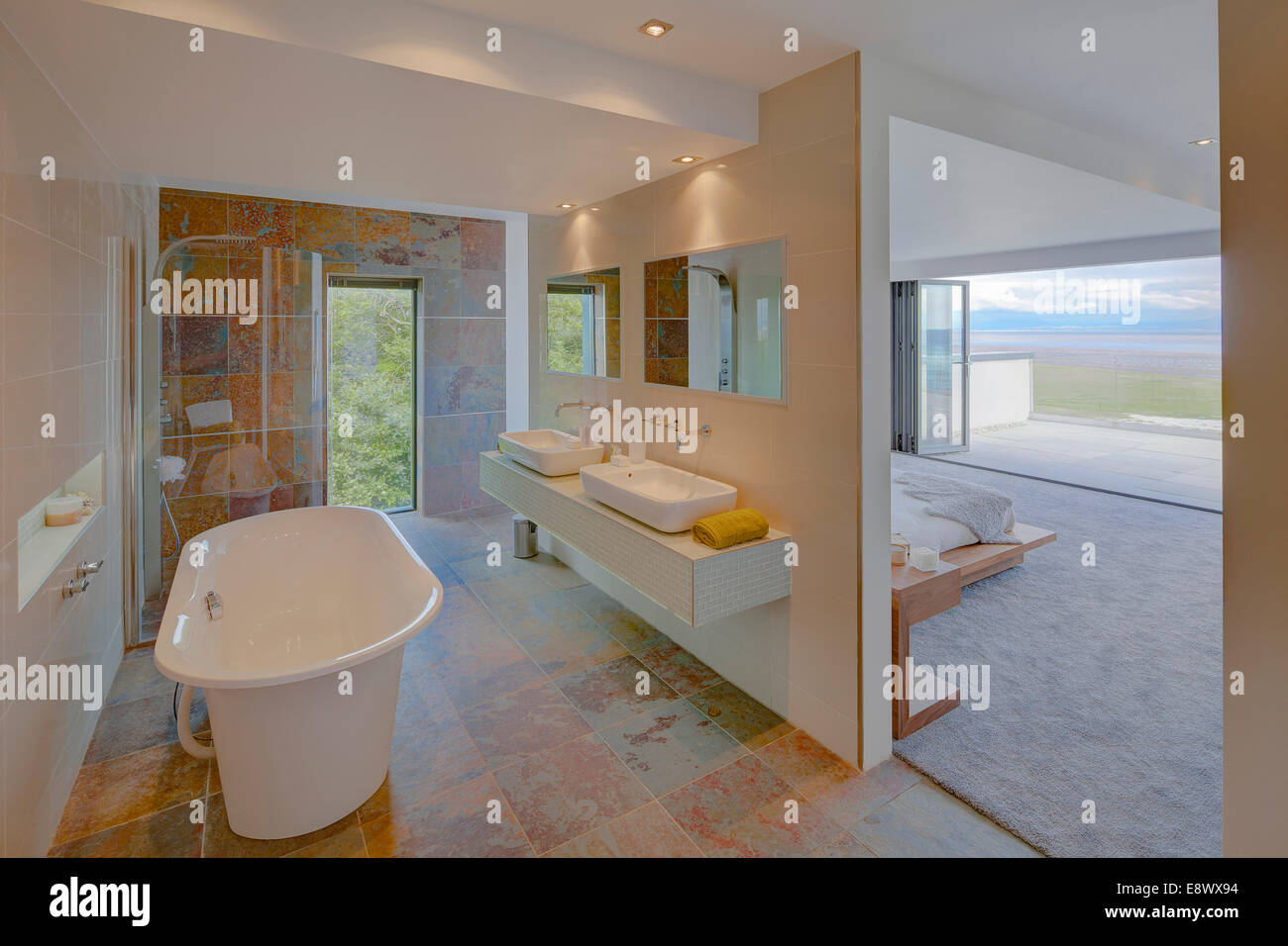 Partitioned Bedroom Modern Ensuite Bathroom Separated From Bedroom By