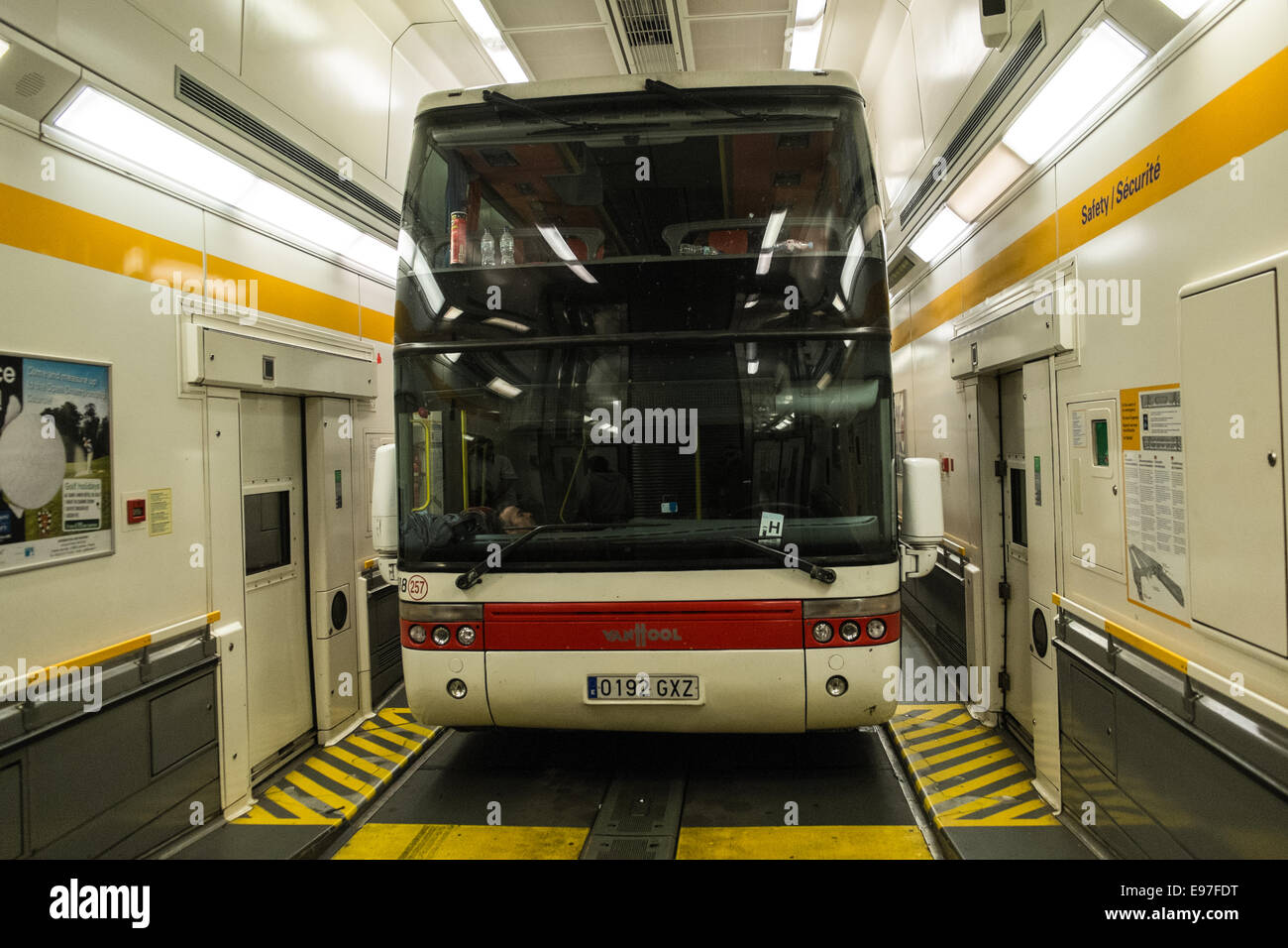 Bus Paris Calais Tour Bus On Eurotunnel Between France And England Stock