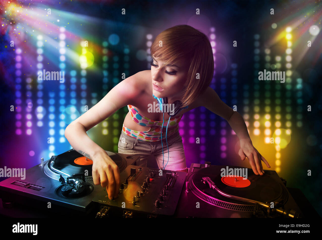 3d Effect Live Wallpapers Dj Girl Playing Songs In A Disco With Light Show Stock