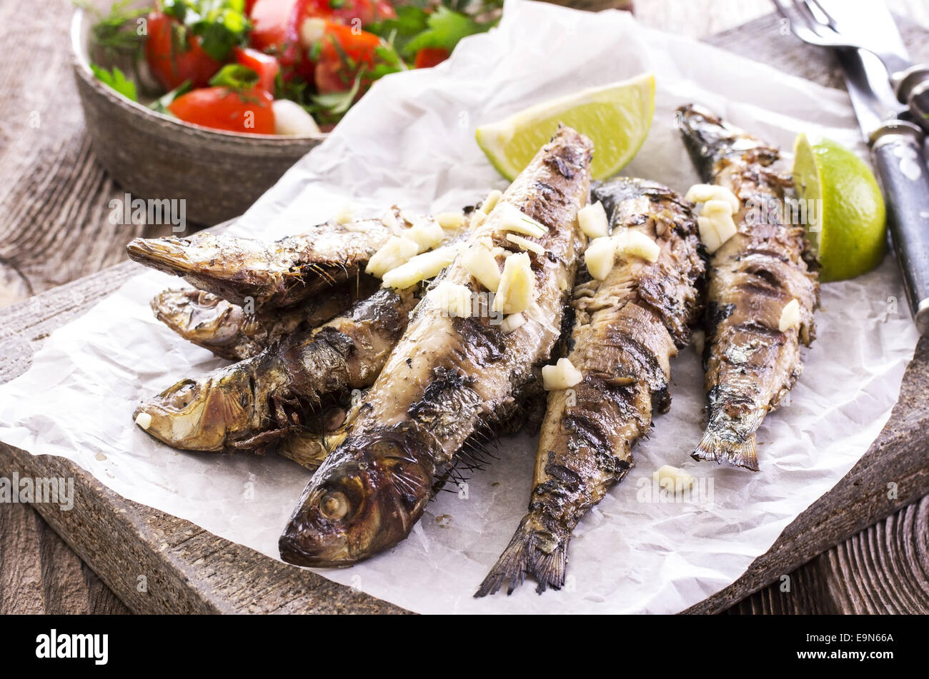 Fettarme Mediterrane Küche Grilled Sardines Stock Photo 74839250 Alamy