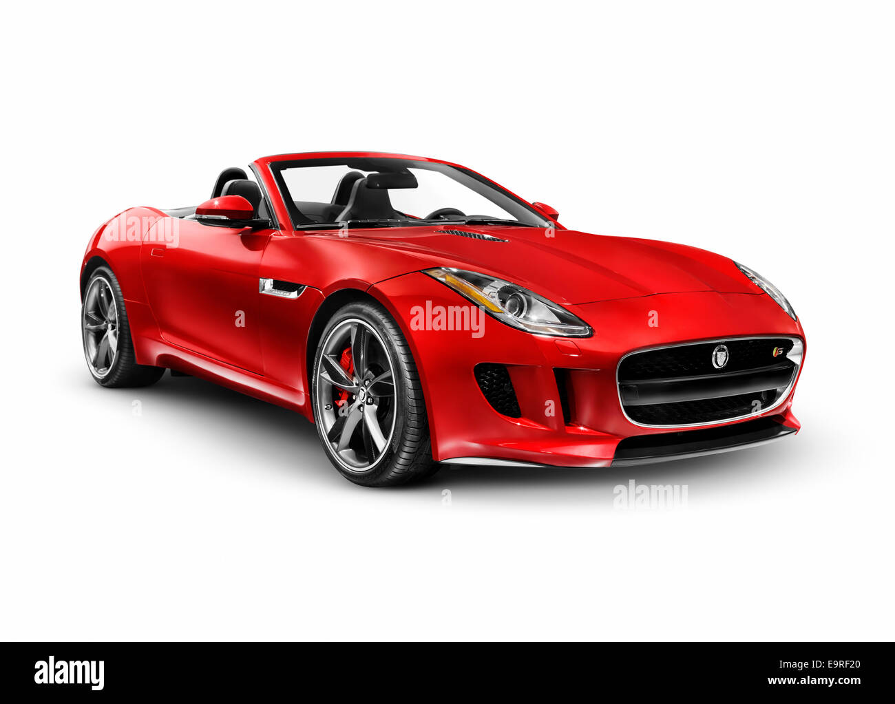Jaguar F Type Red Red 2014 Jaguar F Type S Luxury Sports Car Isolated On