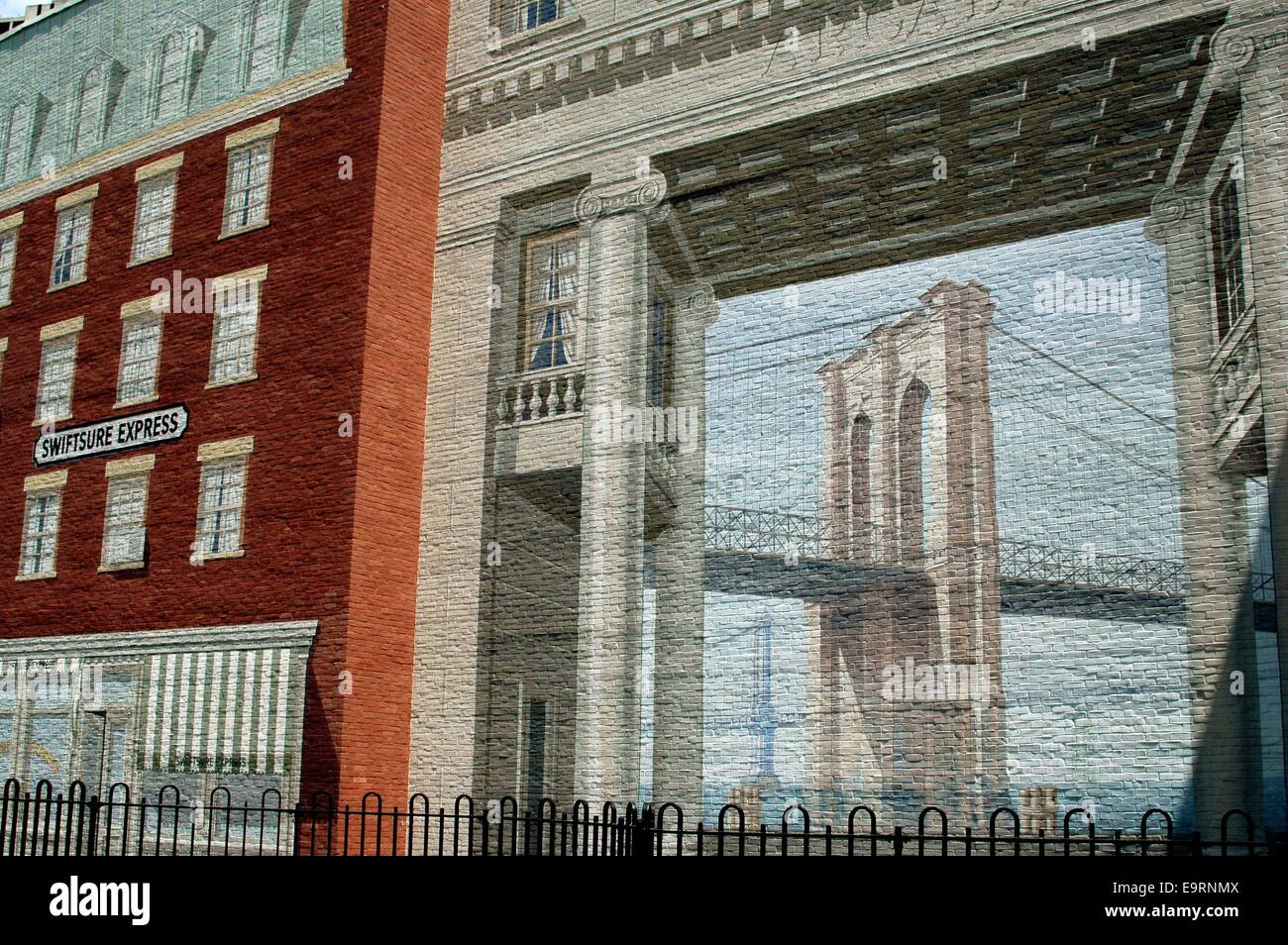 ... Trompe L Oeil Wall Mural Depicting The Brooklyn Bridge. Download