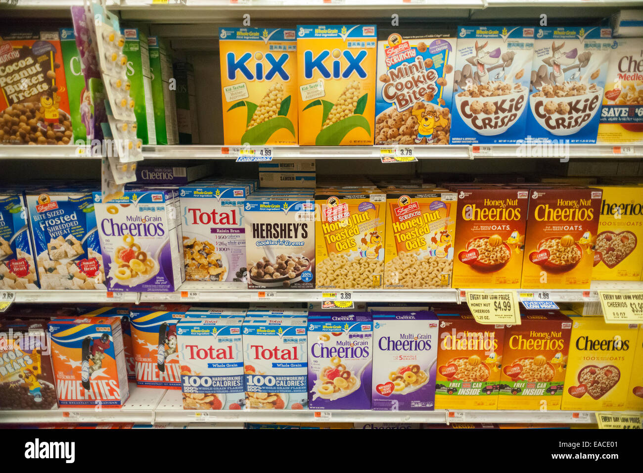 Boxes Of General Mills Breakfast Cereals Mixed In With