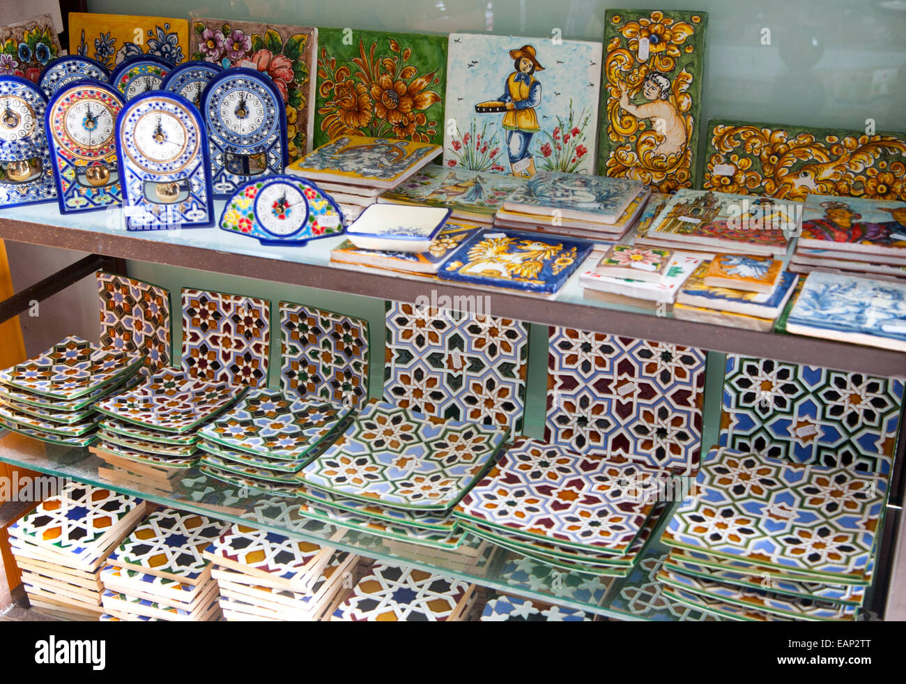 Sevilla Winkelen Display Of Tiles Inside Santa Ana Ceramic Tile Shop In