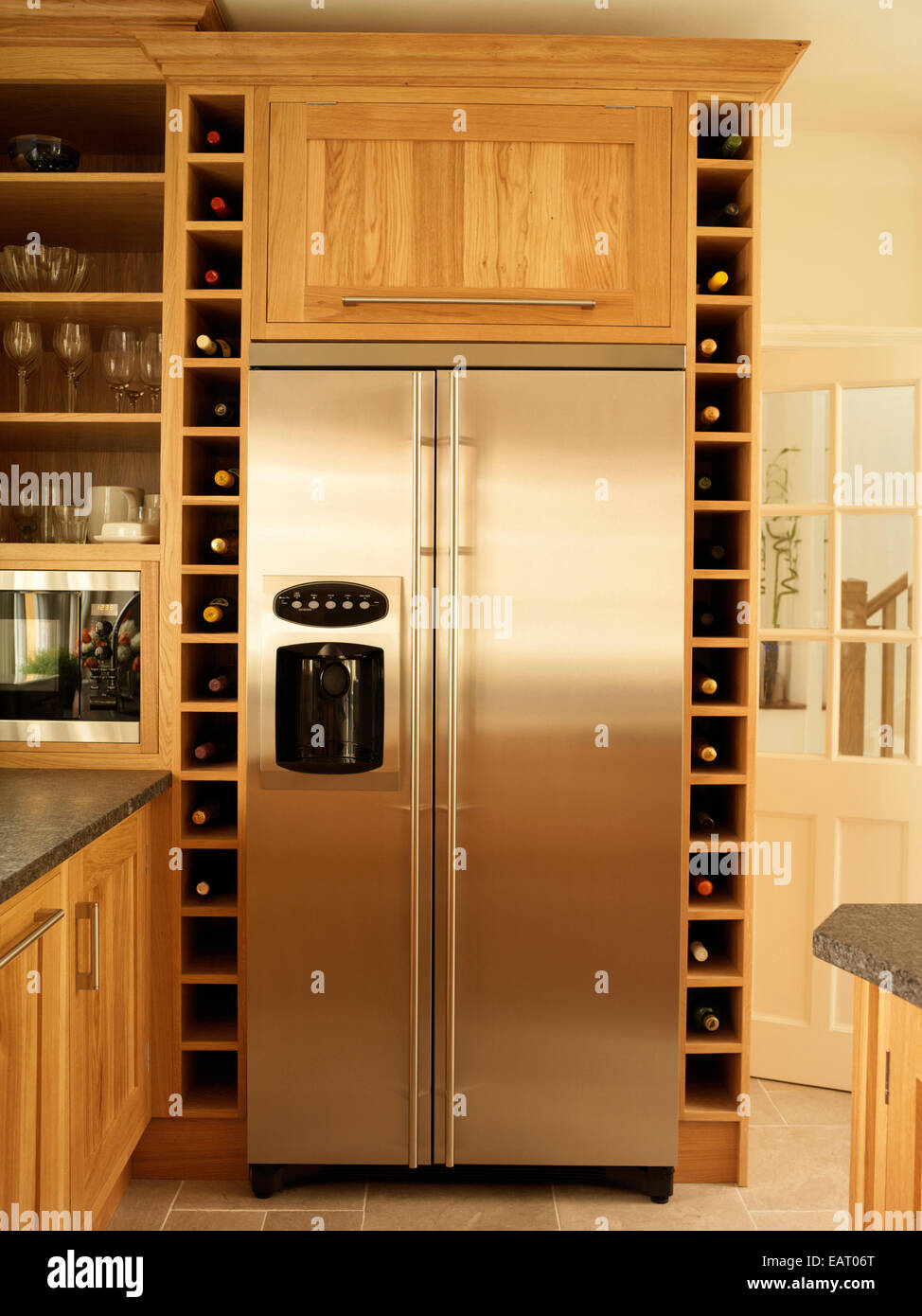 Built in wine racks for kitchen cabinets -  Kitchen Cabinets Stainless Steel Fridge And Built In Wine Rack Download