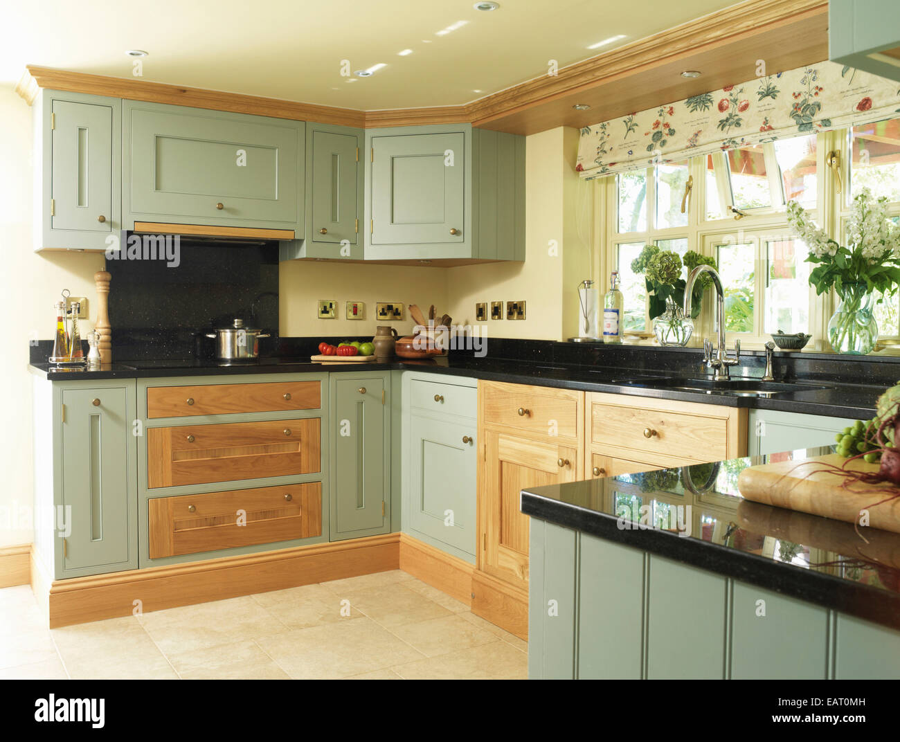 Country Style Kitchens Images Country Style Kitchen With Green Fitted Units Stock Photo
