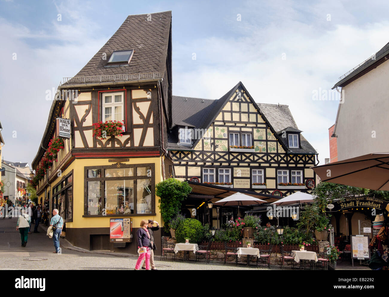 Deutsche Restaurants Mainz Altstadt Timbered 17th And 18th Century Buildings And Stadt