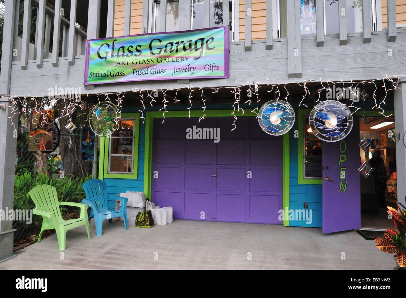 Art Garage Florida Entrance To The Glass Garage Old Homosassa Florida Stock Photo