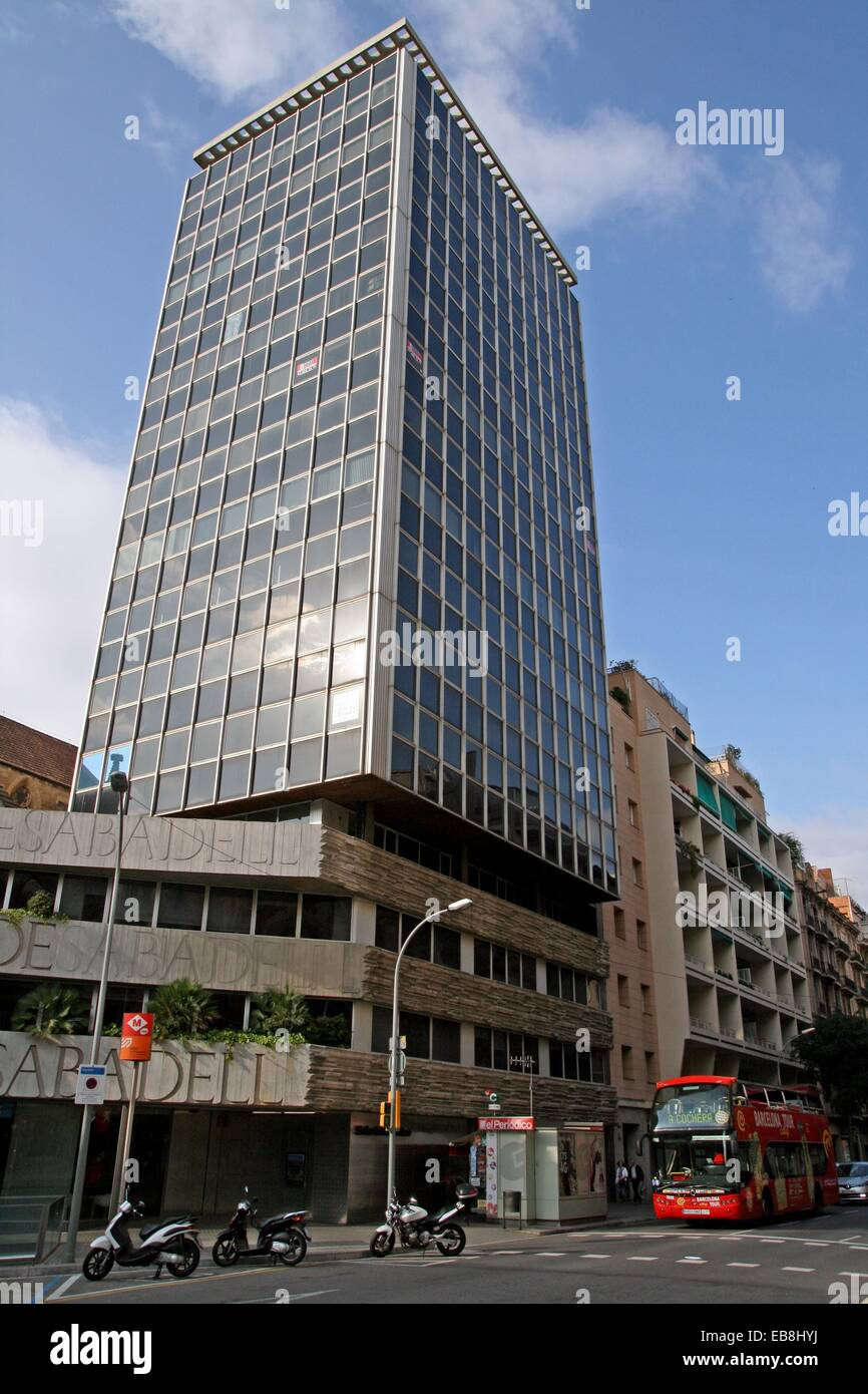 Sabaedell Banc Sabadell Building Offices Barcelona Catalonia Spain Stock
