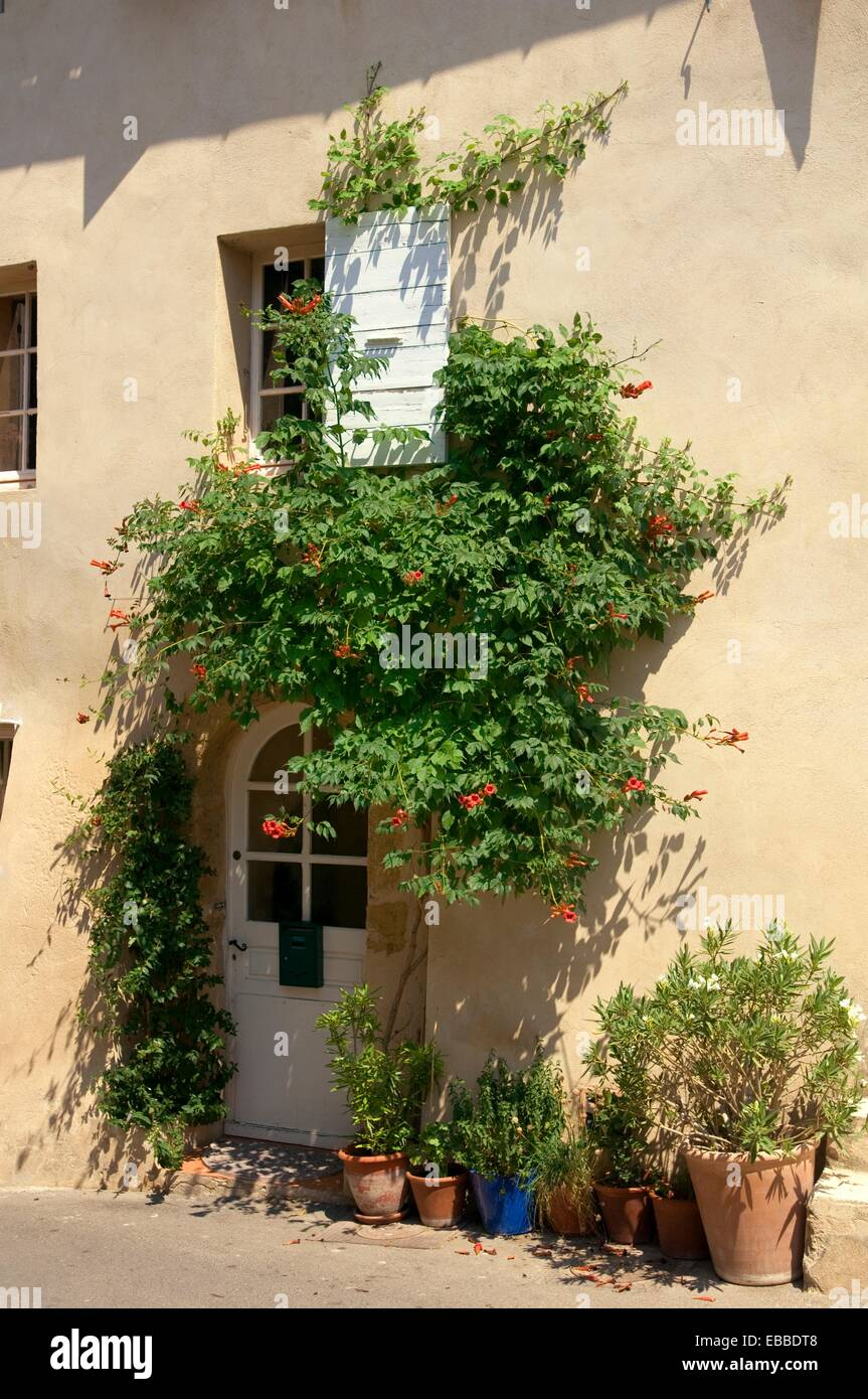Provence Decoration Lourmarin Door Decoration Flower Pots Provence France Stock