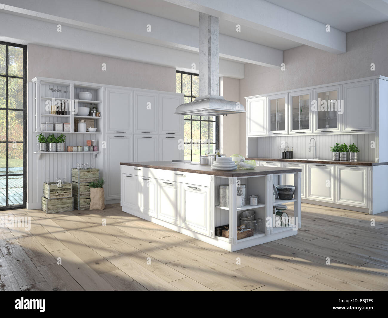 Kitchen Taps Jtf Luxurious Kitchen With Stainless Steel Appliances 3d Rendering