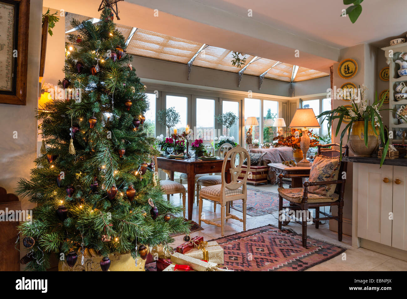 Christmas Tables Decorated Decorated Christmas Tree With Dining Table And Orangery In