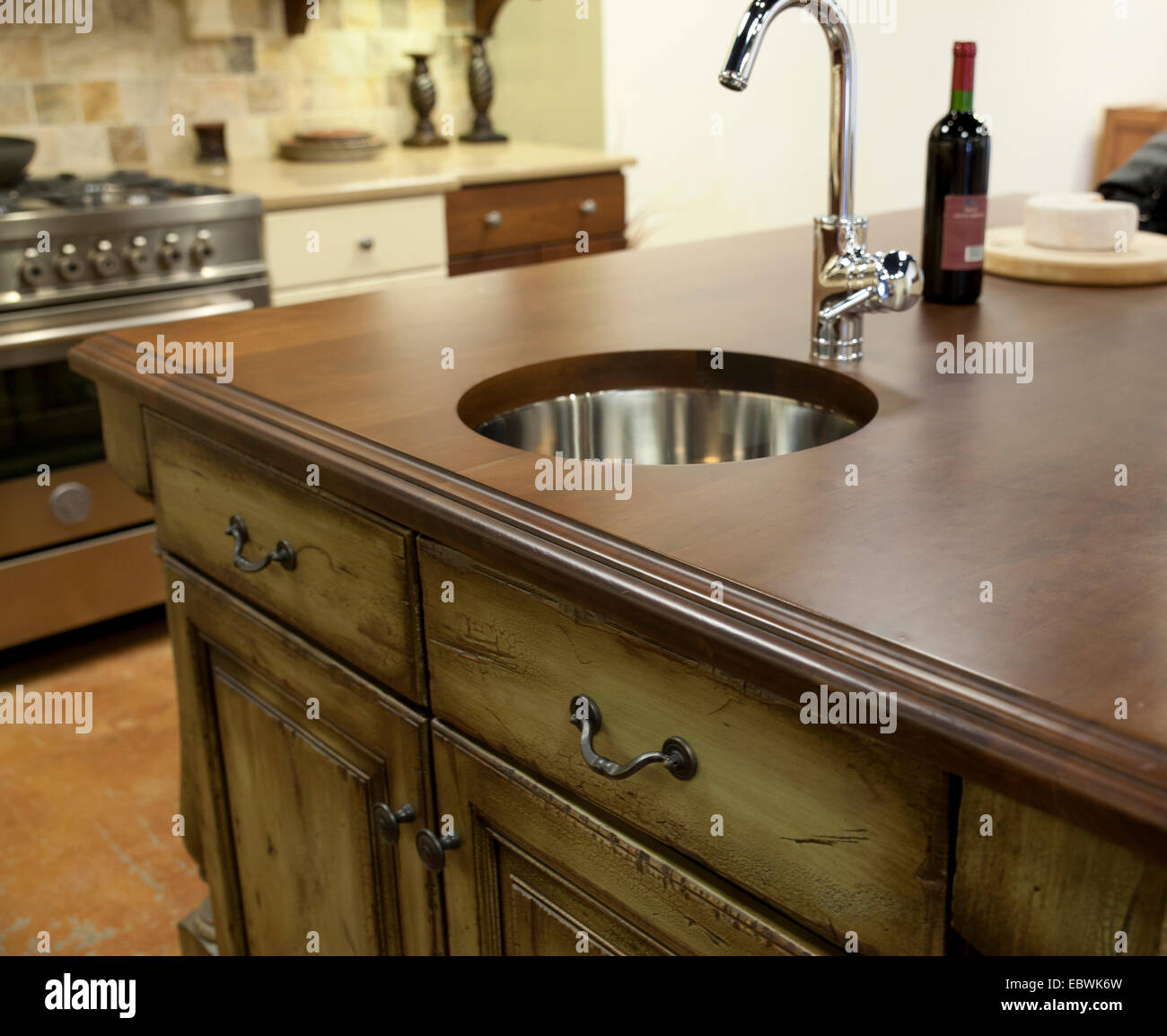 Stainless Countertop Distressed Kitchen Cabinets Wooden Countertop With Modern
