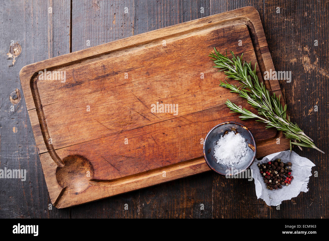 Different Types Of Cutting Boards Chopping Board Seasonings And Rosemary On Dark Wooden