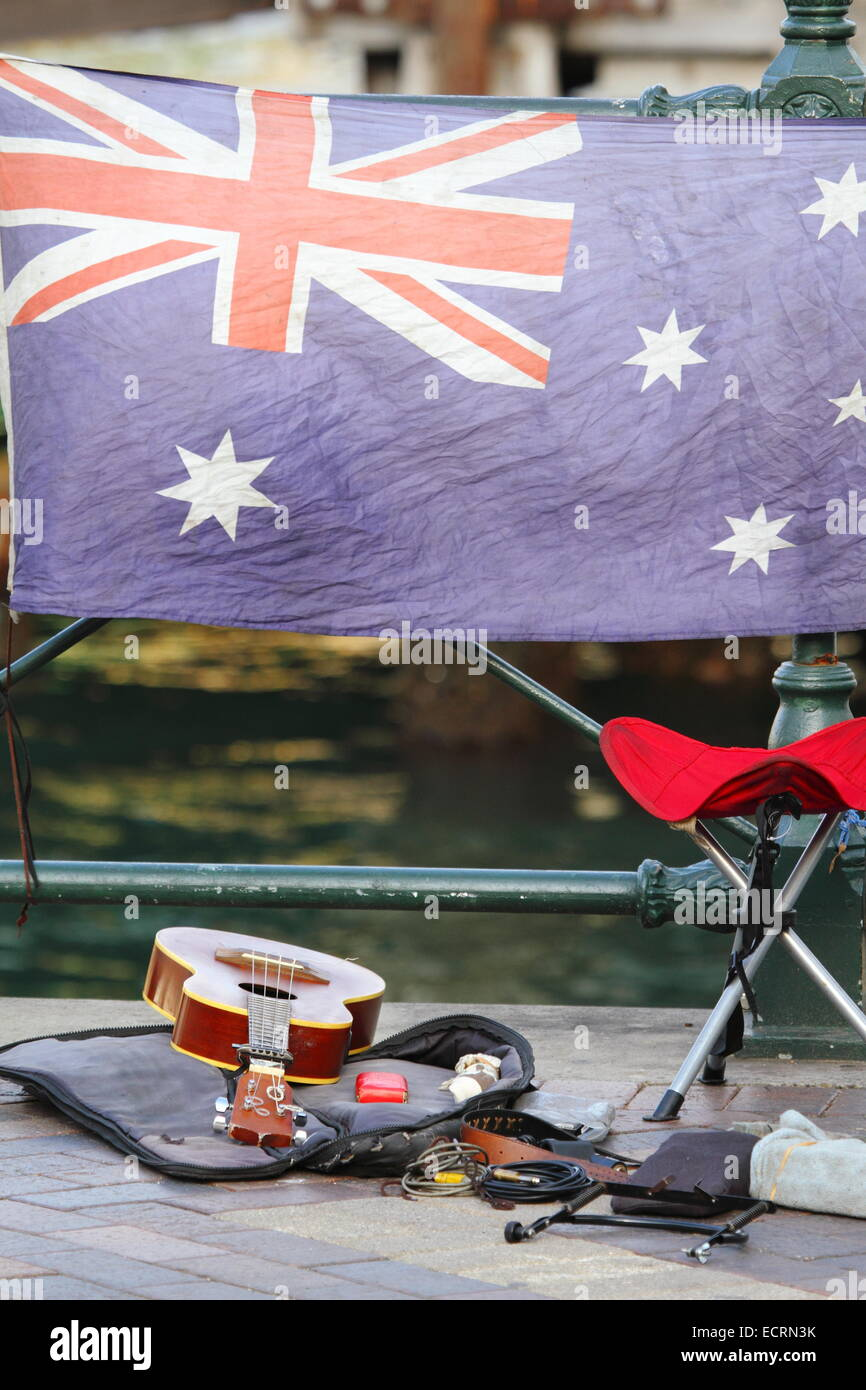 Guitar Stool Australia A Busker S Guitar And Stool In Front Of The Australian Flag Along